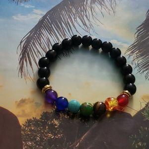Jewelry - 🧘NWT Black 7 Chakra Healing Bead Stretch Bracelet